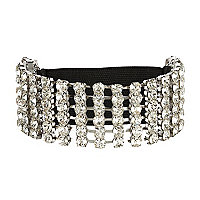 Silver tone diamante stretch arm cuff