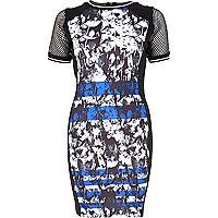 Black graphic print bodycon dress