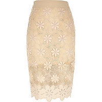 Nude floral lace pencil skirt