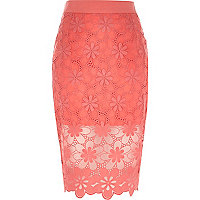 Coral floral lace pencil skirt