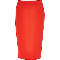 Orange classic pencil skirt