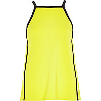Lime colour block square neck cami