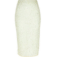 Light green sequin pencil skirt