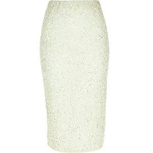 Light green sequin pencil skirt