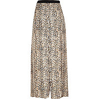 Beige animal print maxi skirt