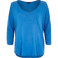 Blue linen V neck top