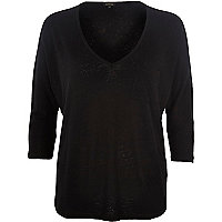 Black V neck pocket top