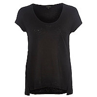 Black linen low scoop neck t-shirt