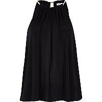 Black necklace trim draped cami top