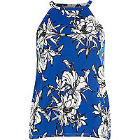Bright blue floral print racer front top