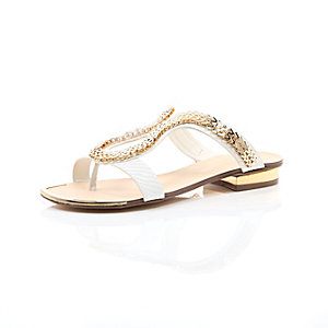 White chain loop sandals