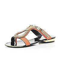 Orange chain loop sandals