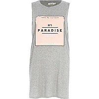 Grey no.1 paradise print longline tank top