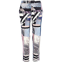 Pink abstract print cigarette pants