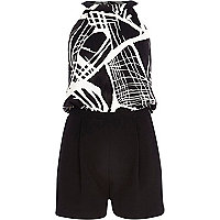 Black abstract print playsuit