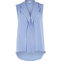 Blue sleeveless frill blouse