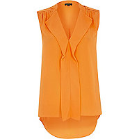 Orange sleeveless frill blouse