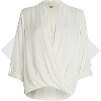 Cream twist wrap blouse