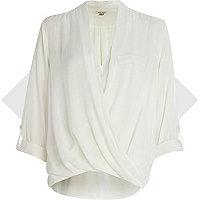 Cream twist wrap blouse
