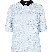 Light blue lace collared top