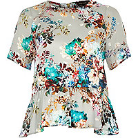 Grey floral print peplum blouse
