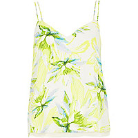 Yellow floral print double strap cami