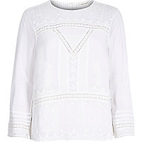 Cream Victoriana embroidered lace blouse