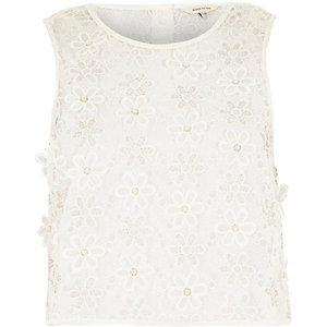 White embellished floral lace top