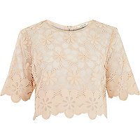 Nude floral lace crop t-shirt