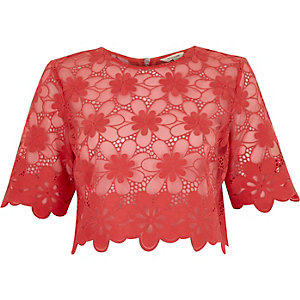 Coral floral lace crop t-shirt