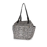 Grey leather snake print tote bag
