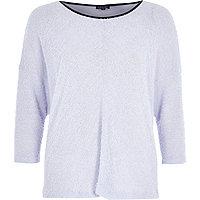 Lilac 3/4 sleeve fluffy jumper