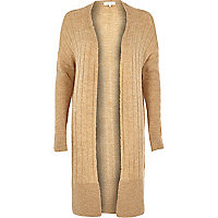 Brown long ribbed cardigan