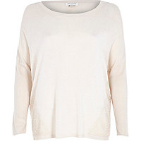 Beige lace panel 3/4 sleeve knitted top