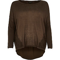 Khaki lace panel 3/4 sleeve knitted top