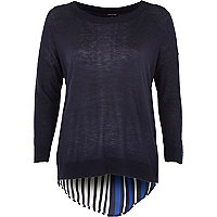 Navy woven stripe detail top
