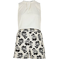 Cream 60s floral print sleeveless playsuit
