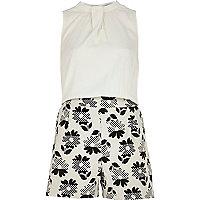 Cream 60s floral print sleeveless playsuit