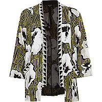 Black floral print beaded kimono