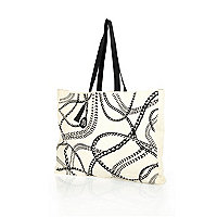 Cream chain print cotton shopper bag