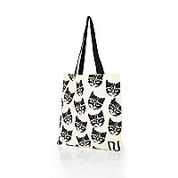 Cream cat print canvas shopper bag