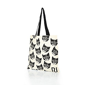 Cream cat print canvas shopper bag