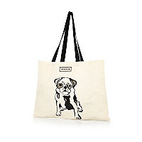 Cream pug print canvas shopper bag
