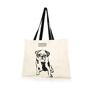 Cream pug print canvas shopper bag
