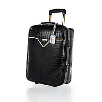 Black mock croc wheelie suitcase