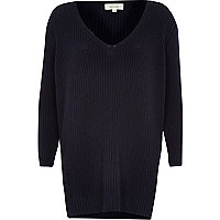 Navy V neck ribbed elongated hem jumper