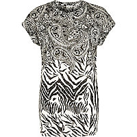 White zebra and paisley print burnout t-shirt