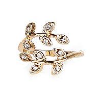 Gold tone diamante leaf finger top ring