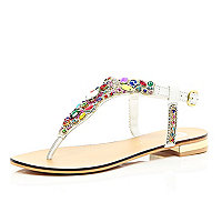 White gemstone embellished T bar sandals