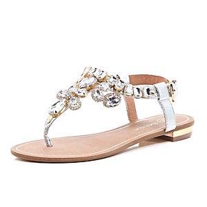Silver gemstone embellished sandals